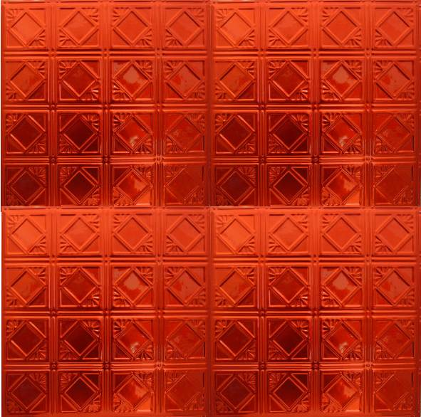 Translucent Red Metal Ceiling Tile